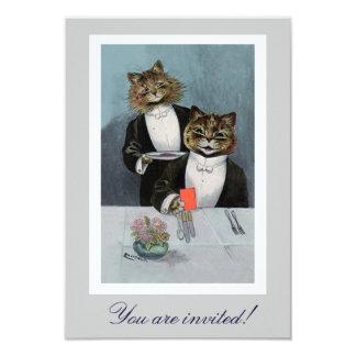 Gatos de Louis Wain no convite do comensal do Convite 8.89 X 12.7cm