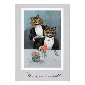 Gatos de Louis Wain no convite do comensal do smok