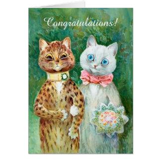 Gatos de Louis Wain que Wedding o cartão dos