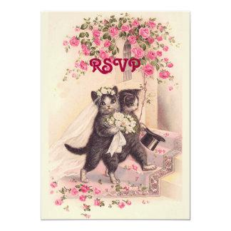 Cartão Gatos do casamento de RSVP no convite cor-de-rosa