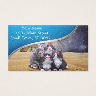 gatos do espaço que procuram o hamburguer cartão de visitas