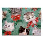 Gatos do natal vintage cartao