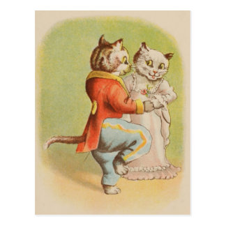 Gatos do vintage que dançam o cartão