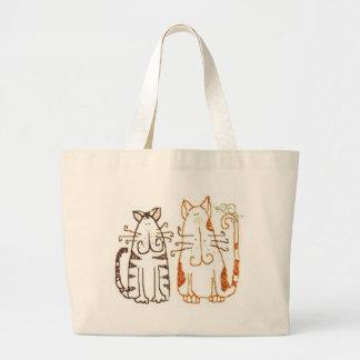 gatos dos desenhos animados sacola tote jumbo