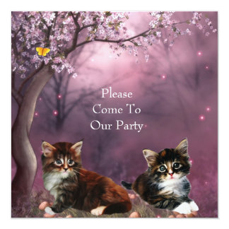 Gatos dos gatinhos do partido do convite Enchanted