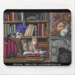 Gatos dos leões da biblioteca e livros Mousepad