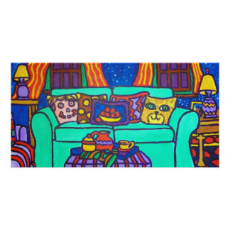 Gatos em um sofá por Piliero Cartão Com Fotos Personalizado