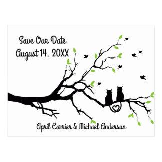 Gatos em uma árvore - salvar nosso cartão da data