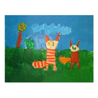 Gatos engraçados cartão postal