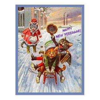 Gatos engraçados do vintage do cartão do ano novo