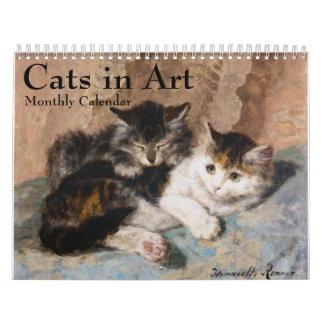 Gatos no calendário mensal das belas artes