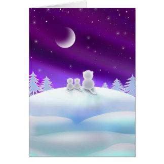 Gatos no cartão do feriado de Snowhill