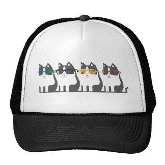 Gatos no chapéu da arte do pixel da fileira dos vi boné
