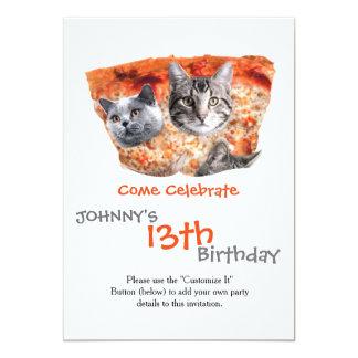 Gatos para o Pizza-Amante Convite 12.7 X 17.78cm