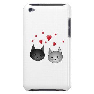 Gatos pretos e cinzentos bonitos, com corações capa para iPod touch