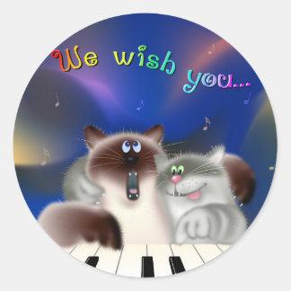 Gatos que cantam canções do Natal Adesivo Em Formato Redondo