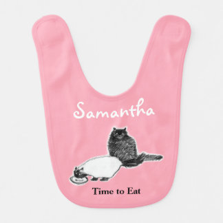 Gatos que comem o babador do bebê, customizável