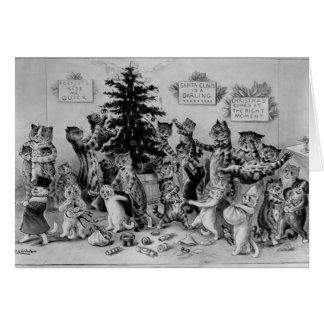 Gatos que decoram o cartão da árvore de Natal