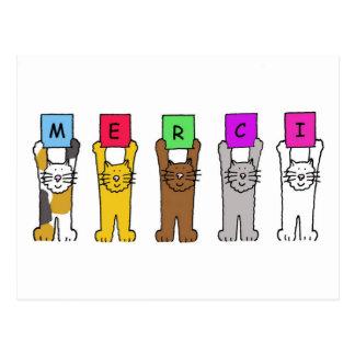 """Gatos que dizem """"Merci"""", obrigados em francês Cartão Postal"""