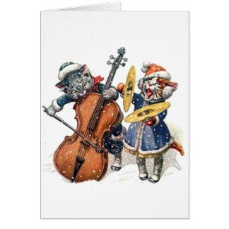 Gatos que jogam a música do Natal na neve Cartão Comemorativo