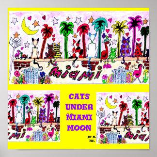 Gatos sob a lua de Miami Pôster
