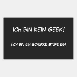 Geek do kein da caixa de Ich! Adesivo Retangular