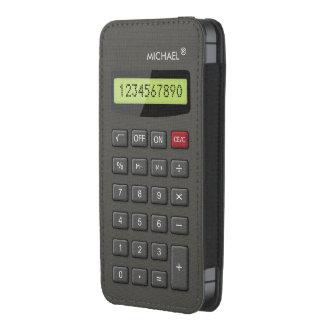 Geek engraçado da calculadora com texto feito sob bolsinha de celular