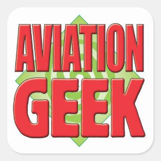 Geek v2 da aviação adesivo em forma quadrada