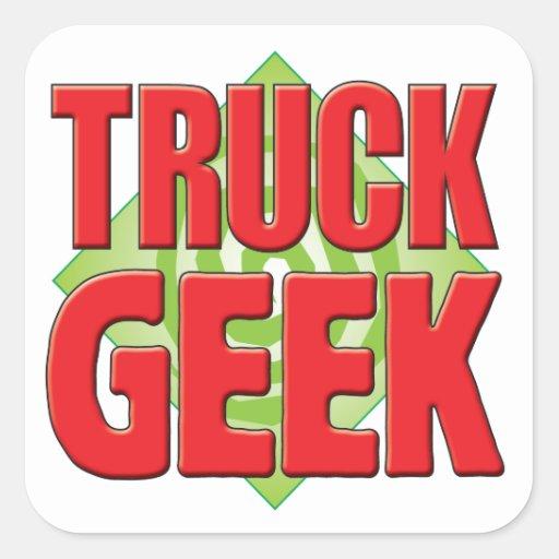 Geek v2 do caminhão adesivo em forma quadrada