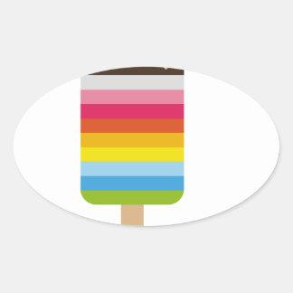 Gelado colorido do pop do Lolly Adesivo Oval