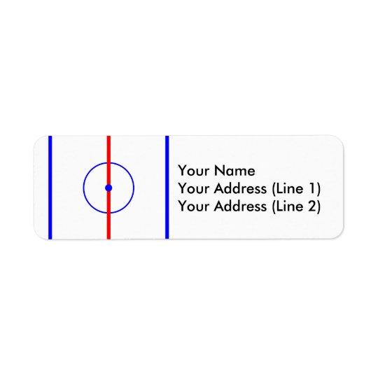 Gelo do centro do hóquei & linhas azuis etiqueta endereço de retorno