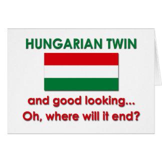Gêmeo húngaro bonito cartão comemorativo