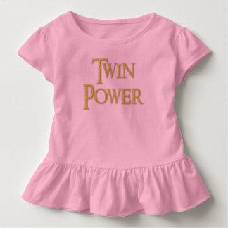 Gêmeo, poder, bebê, menina, vestido do plissado