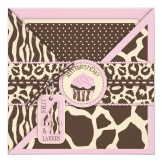 GÊMEOS cor-de-rosa do aniversário do safari & do Convite Personalizado