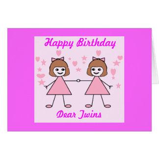 Gêmeos da menina, feliz aniversario cartão