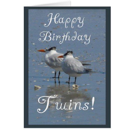 Gêmeos do feliz aniversario! - Dois pássaros idênt Cartões