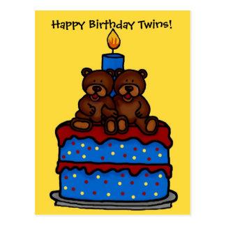 gêmeos do menino no cartão do bolo de aniversário cartões postais