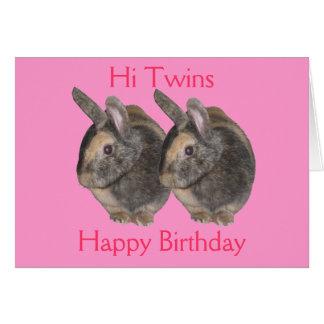 Gêmeos, foto do coelho, cartão de aniversário