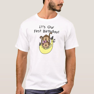 Gêmeos - primeiro aniversario do macaco do menino camiseta