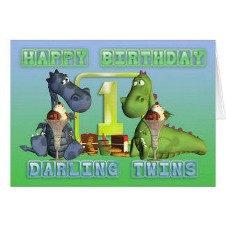 Gêmeos queridos do feliz aniversario, pares de cartão comemorativo