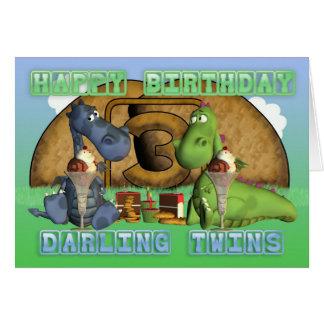 Gêmeos queridos do feliz aniversario, pares de dra cartao