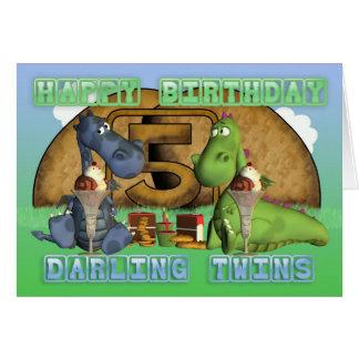 Gêmeos queridos do feliz aniversario, pares de dra cartoes