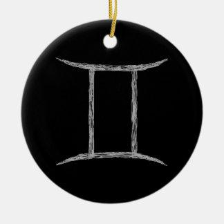Gêmeos. Sinal da astrologia do zodíaco. Preto Enfeites Para Arvore De Natal