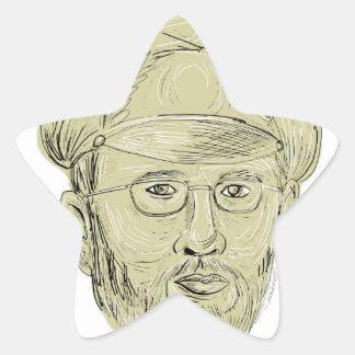 General turco Cabeça Desenho Adesito Estrela