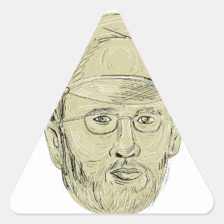 General turco Cabeça Desenho Adesivo Triangular