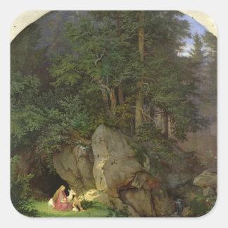 Genoveva no esclarecimento de madeira, 1839-41 adesivos quadrados