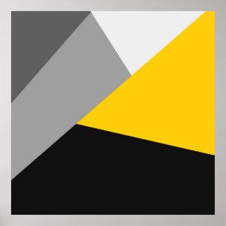 Geo amarelo e preto cinzento moderno simples pôster