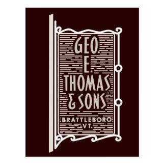 Geo. E. Thomas & cartão do logotipo do VT de
