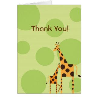 Geo os cartões de agradecimentos do girafa - verde