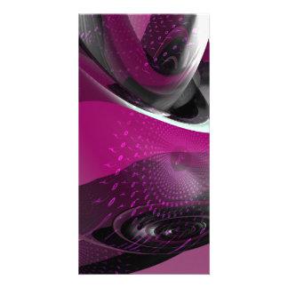 Geometria cor-de-rosa cartão com fotos personalizado